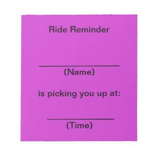 Ride Reminder Notes (Bright Purple) Memo Pads
