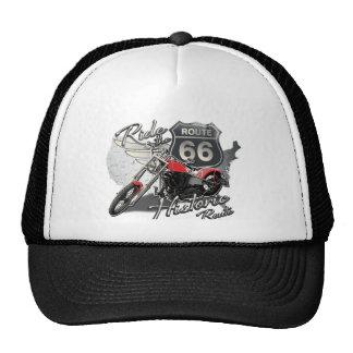 Ride Route 66, Vintage Motorcycle Trucker Hat