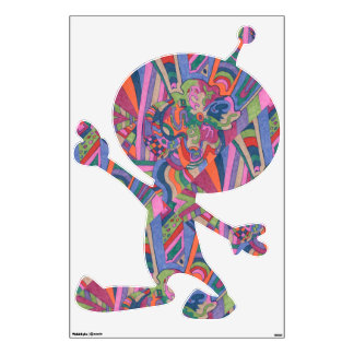 """""""Ride the Groovy Rainbow"""" Abstract Art Med Alien Wall Decal"""