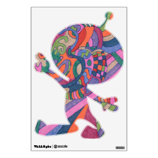 """""""Ride the Groovy Rainbow"""" Abstract Art Sm Alien Wall Decal"""