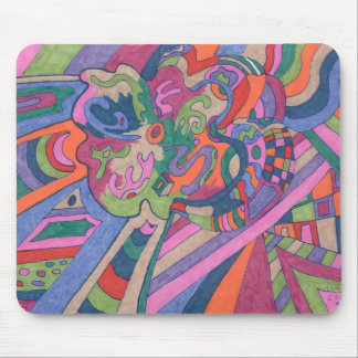 Ride the Groovy Rainbow, abstract Mouse Pad