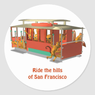 Ride the hills of San francisco in cable car Classic Round Sticker