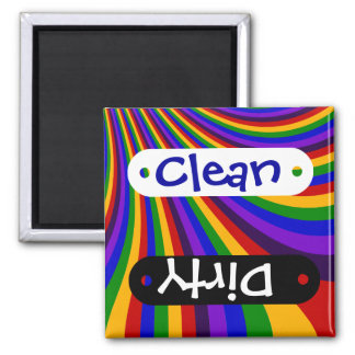 Ride the Rainbow Slide Colorful Stripes 2 Inch Square Magnet
