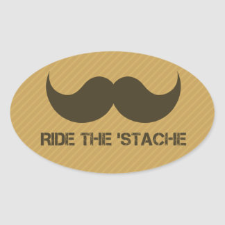 Ride The 'Stache Oval Sticker