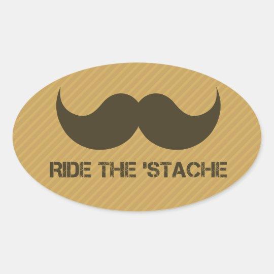 Ride The 'Stache Oval Sticker