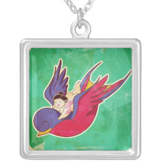 Ride the swallow square pendant necklace