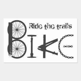 Ride the Trail Bike Graffiti quote Rectangular Sticker