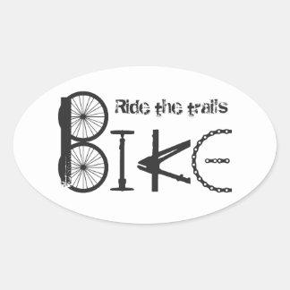 Ride the Trail Bike Graffiti quote Oval Sticker