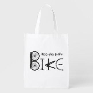 Ride the Trails Bike Graffiti Quote Cycling Sport Market Tote