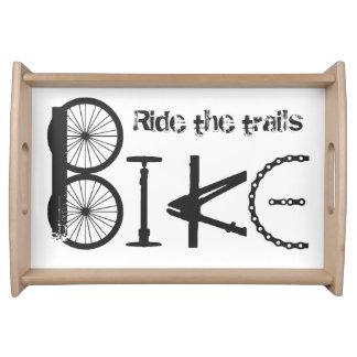 Ride the Trails Bike Graffiti Quote Serving Tray