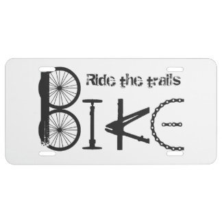 Ride the Trails BIKE made from Bicycle parts License Plate