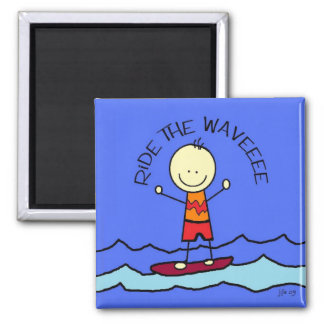 ride the wave 2 inch square magnet