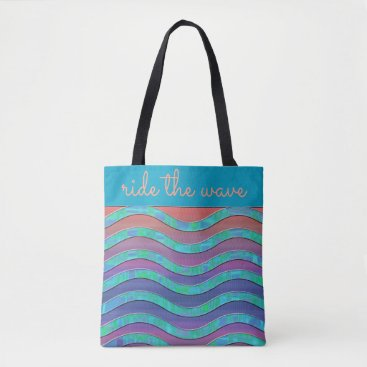 Beach Themed RIDE THE WAVE - Blue, Peach, Teal - HANDBAG