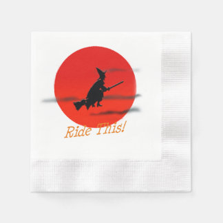 Ride This Witch and Broom Coined Cocktail Napkin