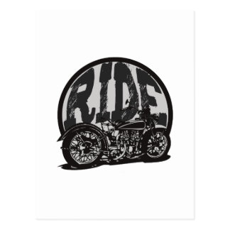 Ride Vintage Motorcycle Postcard