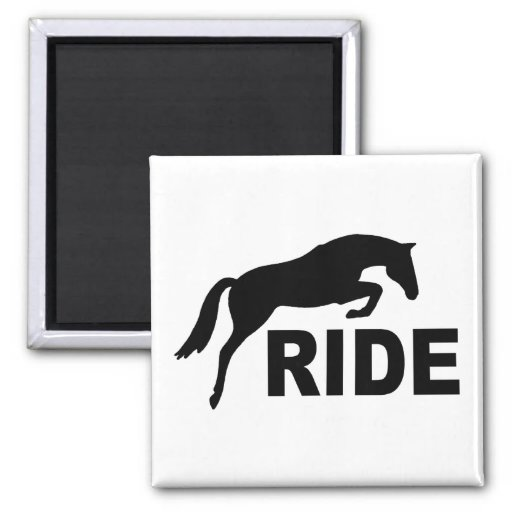 RIDE with Jumping Horse (black) 2 Inch Square Magnet
