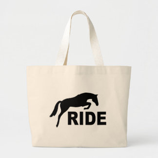 RIDE with Jumping Horse (black) Large Tote Bag