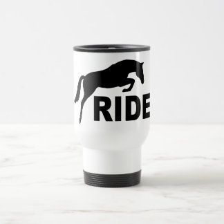 RIDE with Jumping Horse (black) Travel Mug