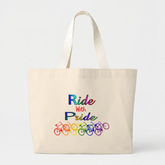 Ride With Pride Gay Lesbian Cyclist Gifts Large Tote Bag