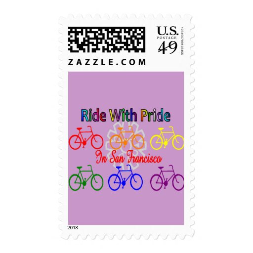 ride with pride SF--Gay Lesbian cyclist Postage Stamp