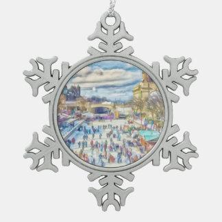 Rideau Canal Ottawa Canada Snowflake Pewter Christmas Ornament