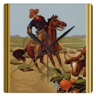 Ride'em cowboy square wall clock