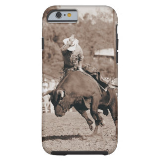 Rider about to fall off bucking bull tough iPhone 6 case