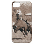 Rider about to fall off bucking bull iPhone 5 cover