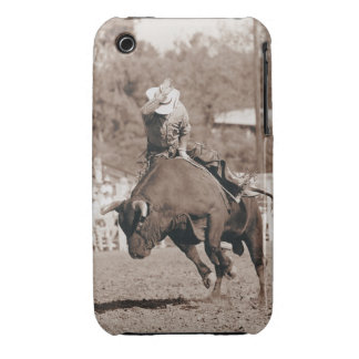 Rider about to fall off bucking bull iPhone 3 case
