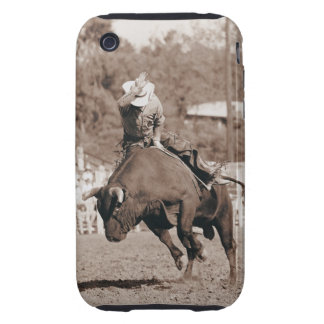 Rider about to fall off bucking bull iPhone 3 tough case