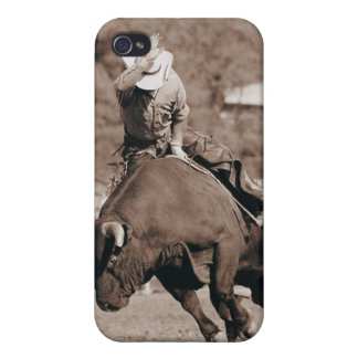 Rider about to fall off bucking bull iPhone 4/4S cases