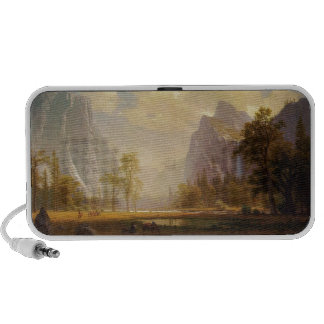 Rider at Lake in Canyon Painting iPhone Speaker