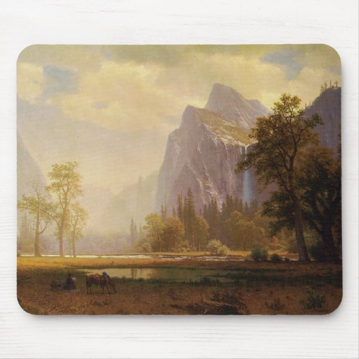 Rider at Lake in Canyon Painting Mouse Pad