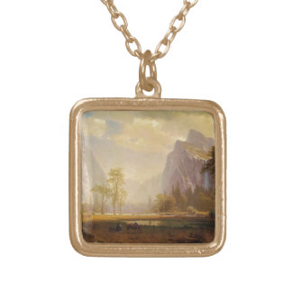Rider at Lake in Canyon Painting Square Pendant Necklace