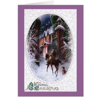 Rider Enters Glowing Village Vintage Christmas Card
