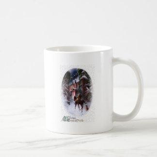 Rider Enters Glowing Village Vintage Christmas Coffee Mug