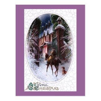 Rider Enters Glowing Village Vintage Christmas Postcard