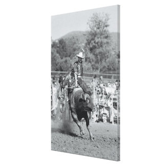 Rider hanging on to bucking bull 2 stretched canvas print