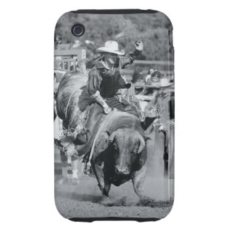 Rider hanging on to bucking bull iPhone 3 tough case