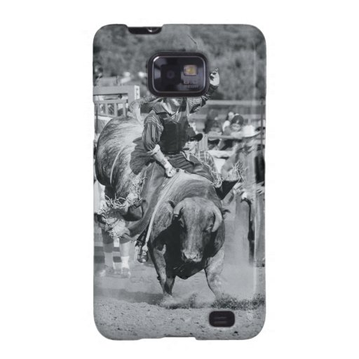 Rider hanging on to bucking bull samsung galaxy SII cover