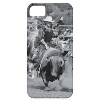 Rider hanging on to bucking bull iPhone 5 case