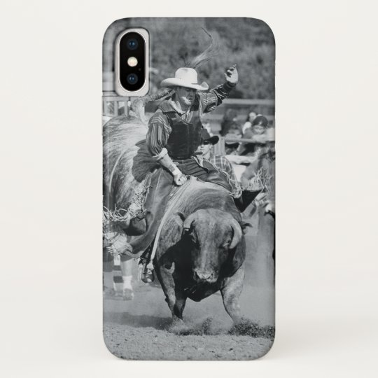 Rider hanging on to bucking bull Case-Mate blackberry case