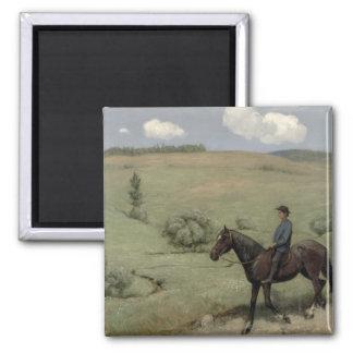 Rider in a Landscape, 1894 (oil on board) 2 Inch Square Magnet