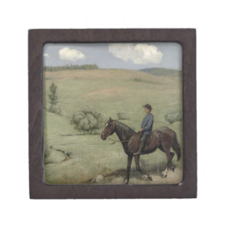 Rider in a Landscape, 1894 (oil on board) Jewelry Box