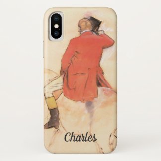 Rider in a Red Coat by Edgar Degas iPhone X Case