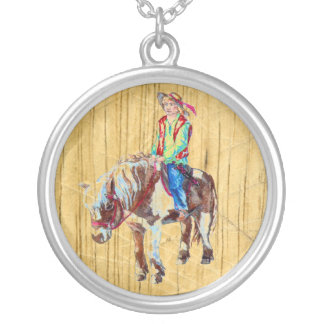 Rider on a pony silver plated necklace