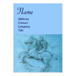 Rider on a Rearing Horse / Monogram,blue,black Business Cards