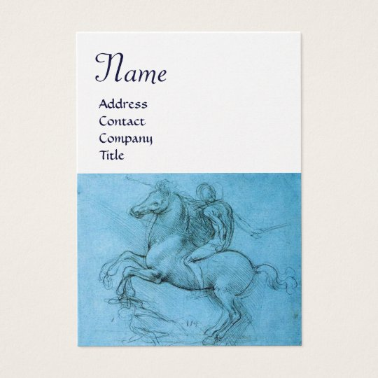 Rider on a Rearing Horse Monogram,blue,white pearl Business Card
