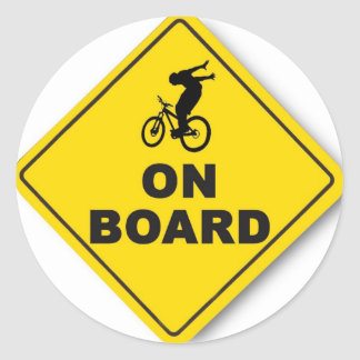rider on board (round) classic round sticker