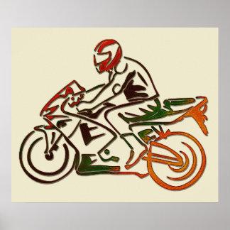 Rider on Motorcycle Rainbow Metallic Poster